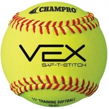 "Champro VEX SAF-T-STICH Soft Core Practice Softballs, 11"", dz"