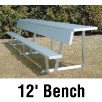 Aluminum Player Bench w/ Backrest and Shelf, PORTABLE, 12', Seats 7