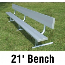 Aluminum Player Bench, w/ Backrest, PORTABLE, 21'