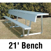 Aluminum Player Bench w/ Backrest and Shelf, PORTABLE, 21', Seats 14
