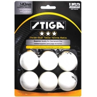 Stiga 3-Star Tournament Table Tennis Balls, White,  6-Pack