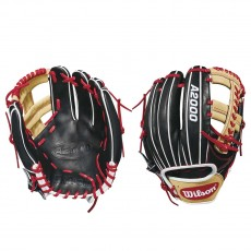 "Wilson 11.5"" A2000 Black w/ Blonde & Red Baseball Glove, WTA20RB181785"