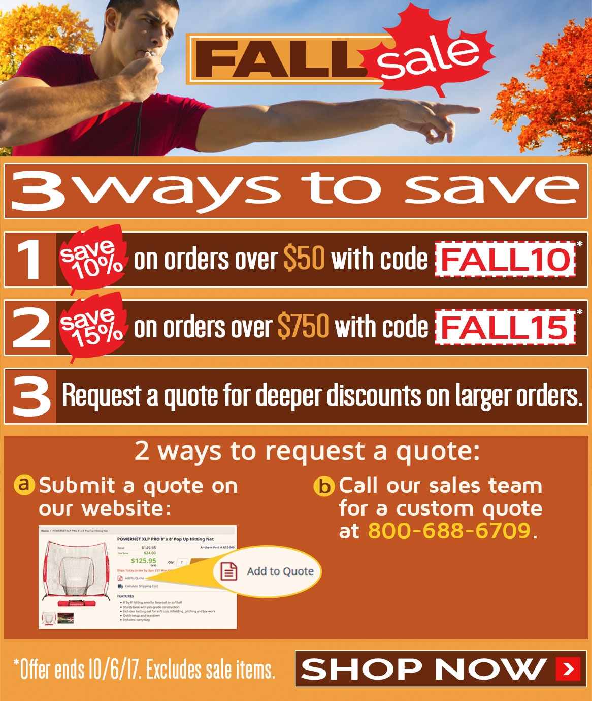 Fall Sale - Save Up To 15%!