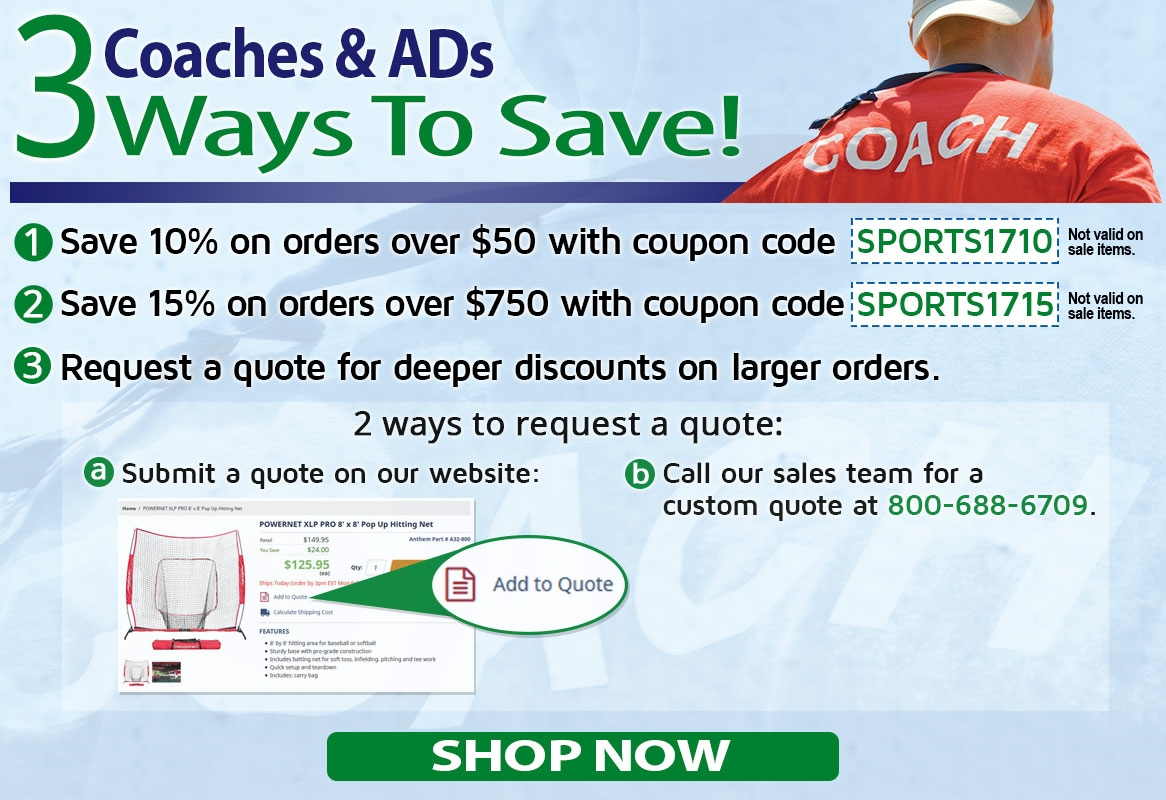 Coaches & ADs, stretch your equipment budget with savings from Anthem Sports!