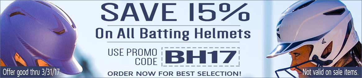 Save 15% on Batting Helmets with promo code: BH17