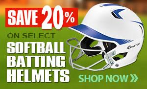 Save 20% on select softball batting helmets!