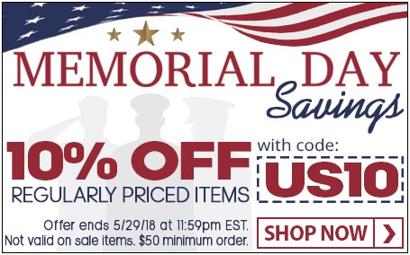 Memorial Day Weekend Sale! Save 10% on regularly priced items with code: US10
