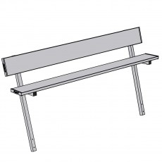 Jaypro 7.5' PERMANENT Aluminum Player Bench w/ Backrest, PB-80PI