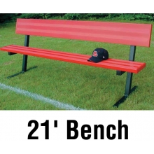Jaypro 21' PORTABLE Player Bench, Powder Coated, w/ Backrest, PB-10PC