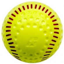 "Baden 12"" PSBRSY Dimpled Machine Softball, Yellow with Red Seam"