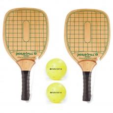 Swinger Wood Pickleball Paddles & Balls, pack of 2