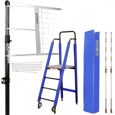 """Porter Powr-Carbon 3"""" International Volleyball Net System Package w/ Ref Stand"""