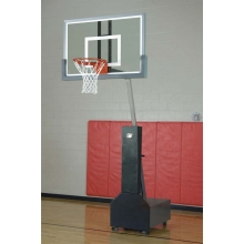Bison Club Court Portable Basketball Hoop, w/ Glass Backboard