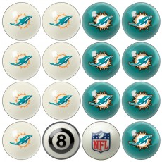 Miami Dolphins NFL Home vs Away Billiard Ball Set