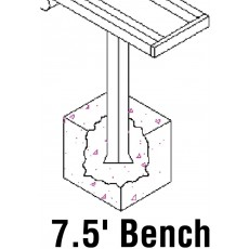 Jaypro 7.5' PERMANENT Aluminum Player Bench, PB-75PI