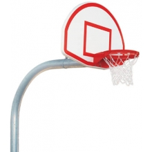 "Bison 5-9/16"", Mega Pole Gooseneck Basketball Hoop w/ Fan Backboard, PR75"