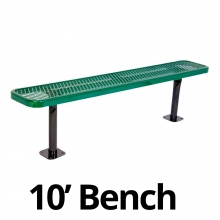 UltraPlay 10' Diamond Plastic Coated Surface Mount Bench
