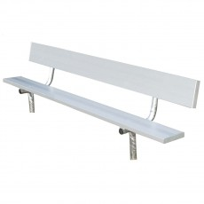 National Rec 8' PERMANENT Aluminum Team Player Bench w/ Backrest