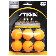 Stiga 3-Star Tournament Table Tennis Balls, Orange,  6-Pack