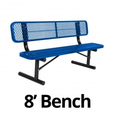 UltraPlay 8' Diamond Plastic Coated Portable Bench w/ Back