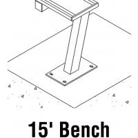 Jaypro PB-20SM Aluminum Player Bench w/ Backrest, SURFACE MOUNT, 15'