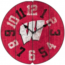 Vintage Round Clock, University of Wisconsin, Badgers