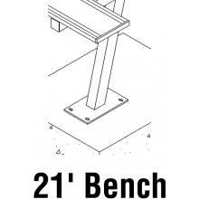 National Rec 21' SURFACE MOUNT Aluminum Team Player Bench w/ Backrest