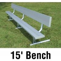 Aluminum Player Bench w/ Backrest, PORTABLE, 15'