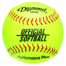 "Diamond 12"", 12YSC Official Synthetic Softball, Yellow"
