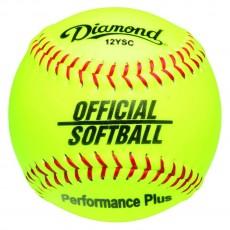 "Diamond 12"", 12YSC Official Synthetic Softball, Yellow"