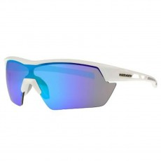 Rawlings 34 Adult Sunglasses, Shiny White/Smoke with Blue Mirror