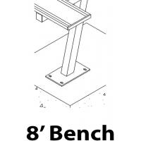 Aluminum Player Bench, SURFACE MOUNT, 8'