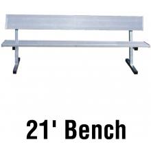 Jaypro 21' PORTABLE Aluminum Player Bench, w/ Backrest, PB-10