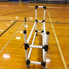 Power Dribble 10 Ball Cart Rack w/ Built-In Pump