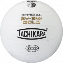 Tachikara SV5WGold Leather Game Volleyball, White
