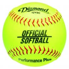 "Diamond 12YSC Official Synthetic Softball, 12"" Yellow"