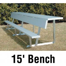 National Rec 15' (Seats 10) Aluminum Player Bench w/ Shelf