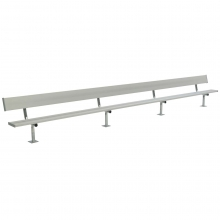 National Rec 21' SURFACE MOUNT Aluminum Team Player Bench w/ Backrest