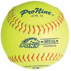 "Pro Nine 47 PL12 47/375 Official Pony League Leather Fastpitch Softballs, 12"", dz"