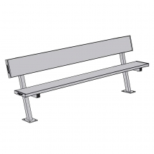 Jaypro 7.5' SURFACE MOUNT Aluminum Player Bench w/ Backrest, PB-80SM