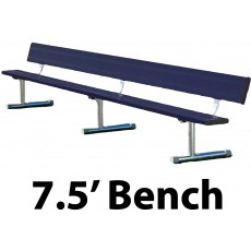 7.5' Portable Aluminum Powder Coated Player Bench w/ Backrest, BEPG08C