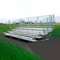 5 Row, 15' Portable PREFERRED Aluminum Bleacher w/ Chain Link