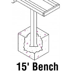 Jaypro 15' PERMANENT Aluminum Player Bench, PB-15PI