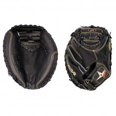 All Star Pro-Elite Solid Black Baseball Catcher's Mitt, 33.5""