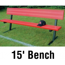 Jaypro 15' PORTABLE Player Bench, Powder Coated, w/ Backrest, PB-20PC
