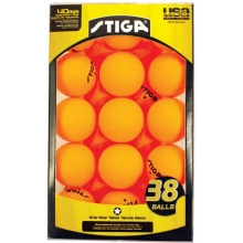 Stiga 1-Star Table Tennis Balls, Orange, 38-Pack