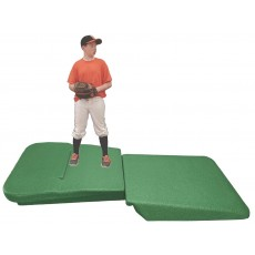 "Portolite 8'6""Lx4'Wx10""H Two-Piece Indoor Pro Practice Baseball Mound, Green"