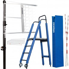 "Porter Powr-Carbon II 3"" International Volleyball Net System Package w/ Ref Stand"