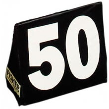 Fisher Triangular Football Sideline Markers, White Numbers on Black, SLMTBK