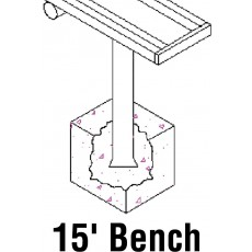 National Rec 15' PERMANENT Aluminum Team Player Bench
